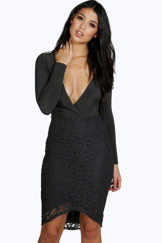 Wrap Lace Panel Midi Dress - black