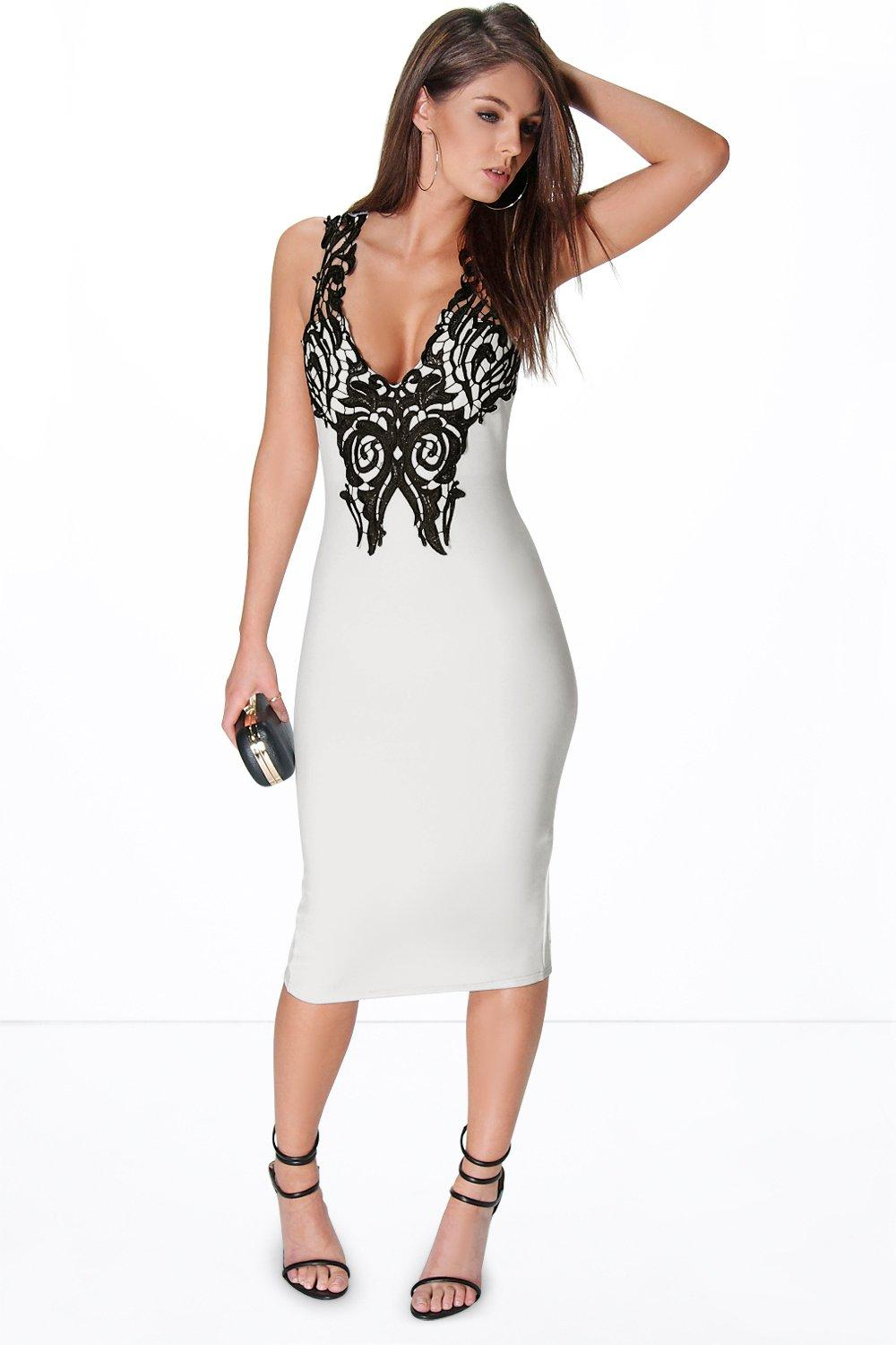 Kylie Trim Detail Plunge Bodycon Dress
