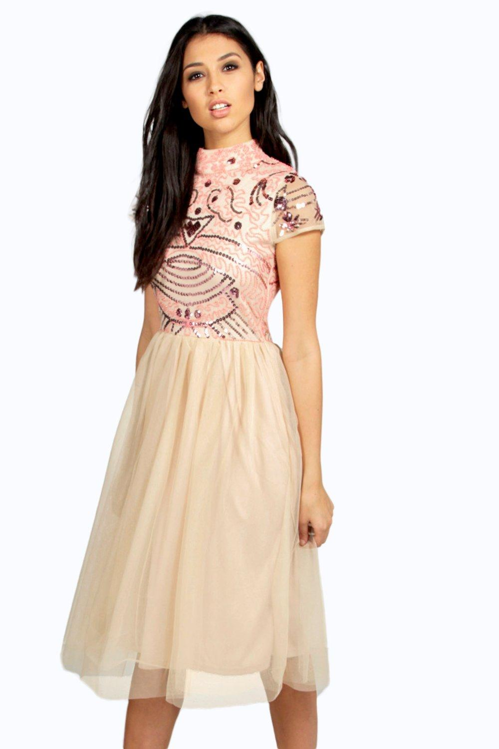 Boutique Ely Embellished Top Tutu Skirt Skater Dress