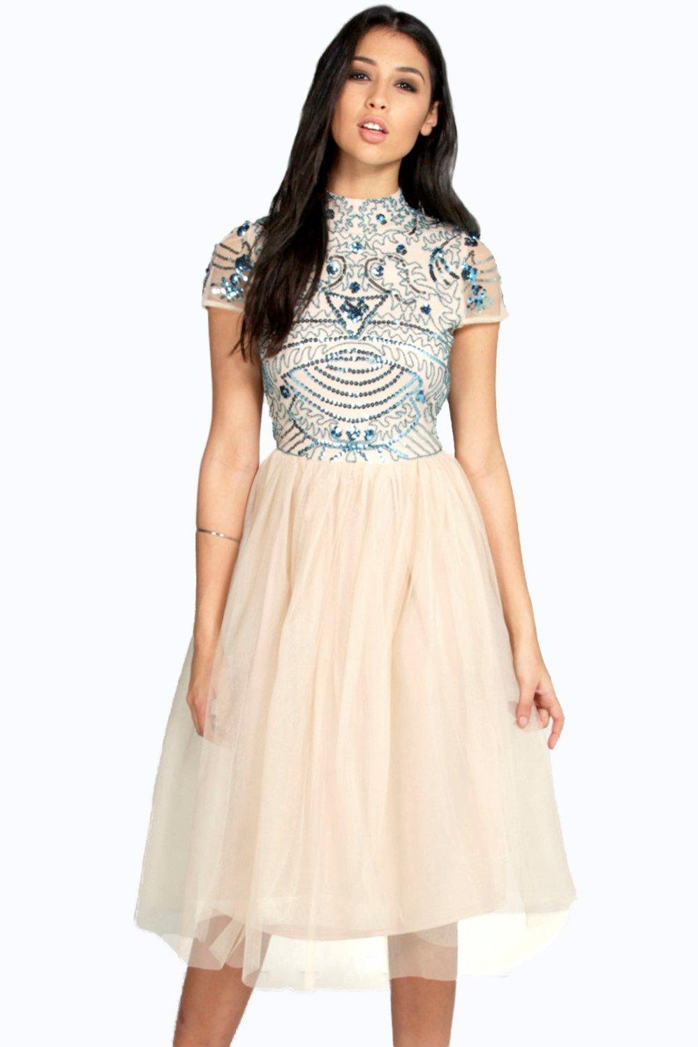 Boohoo womens boutique ely embellished top tutu skirt for Boutique tops
