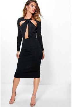 Boutique Mya Twist Cut Out Front Midi Dress