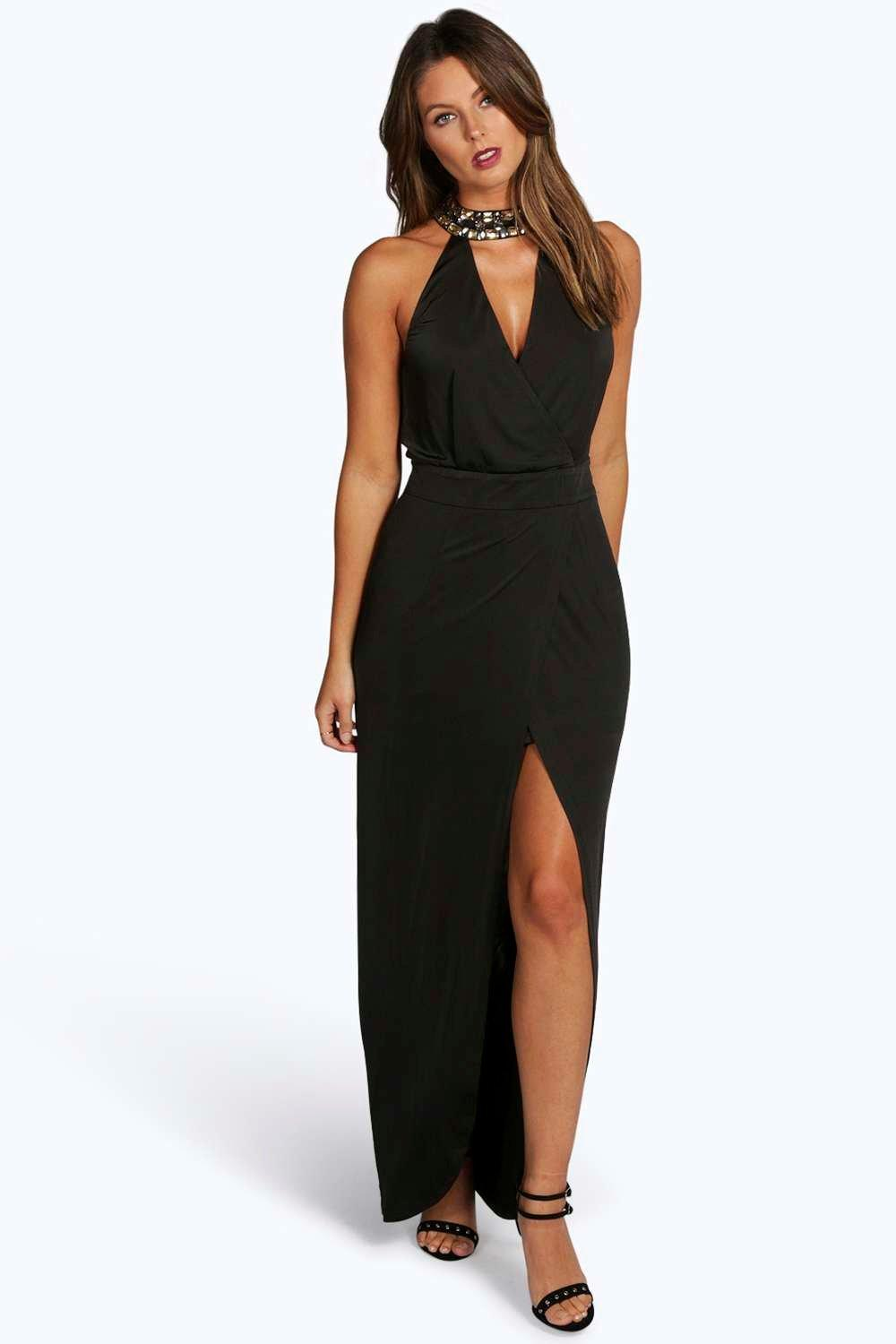 Boutique Dia Embellished Collar Wrap Maxi Dress