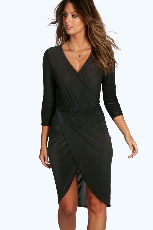 Slinky Wrap Over Bodycon Dress - black
