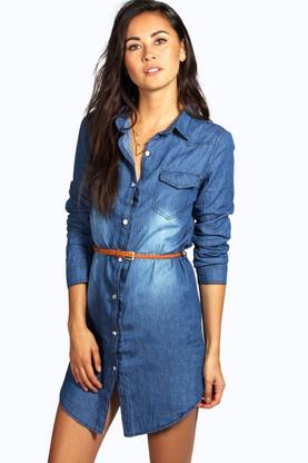 Nina Belted Western Style Denim Shirt Dress