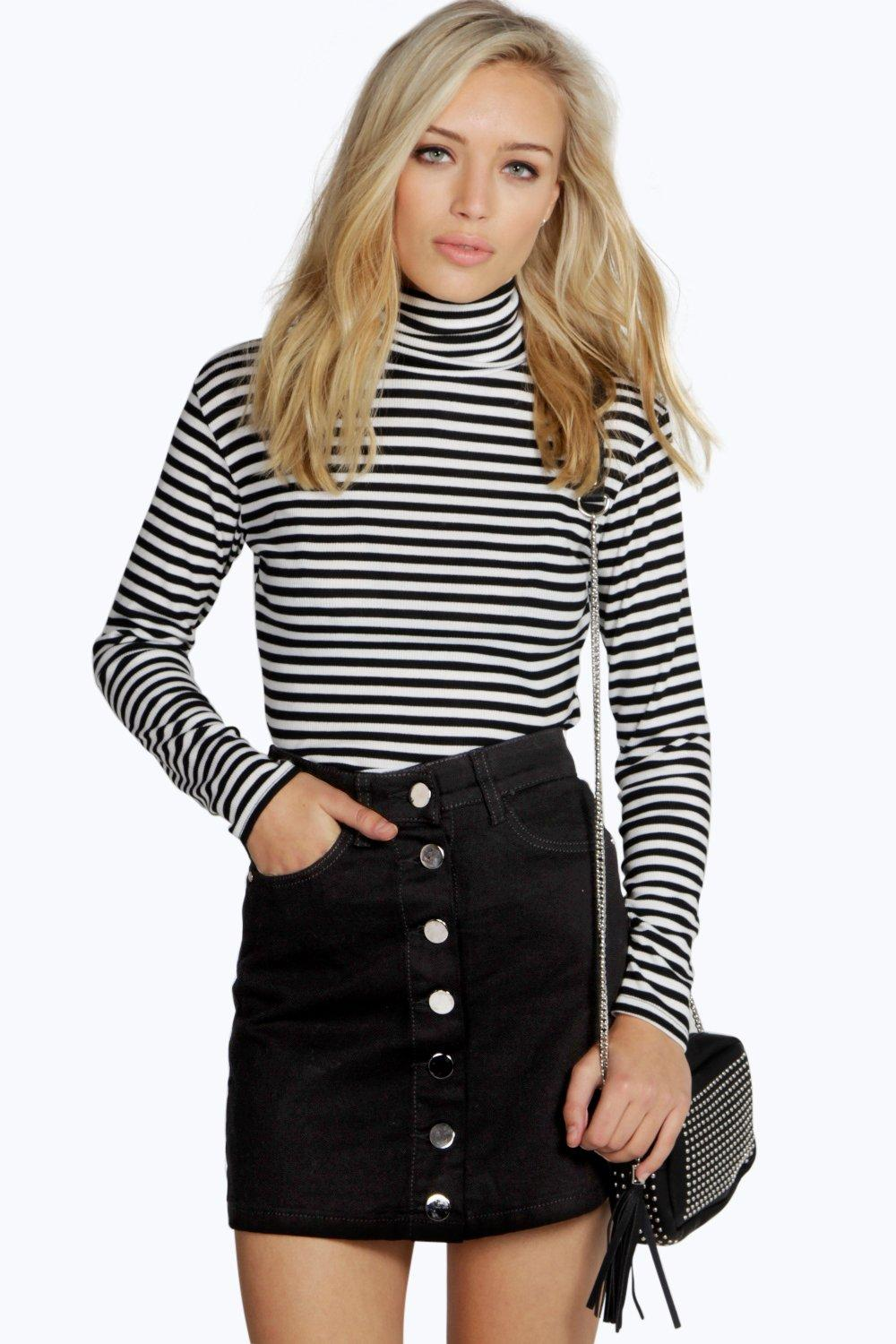 Black Denim Button Through Mini Skirt  black