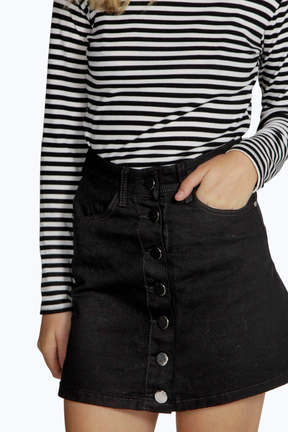 Laura Black Denim Button Through Mini Skirt at boohoo.com