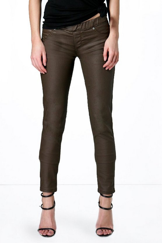 Lacey Pull On Leather Look Jeggings