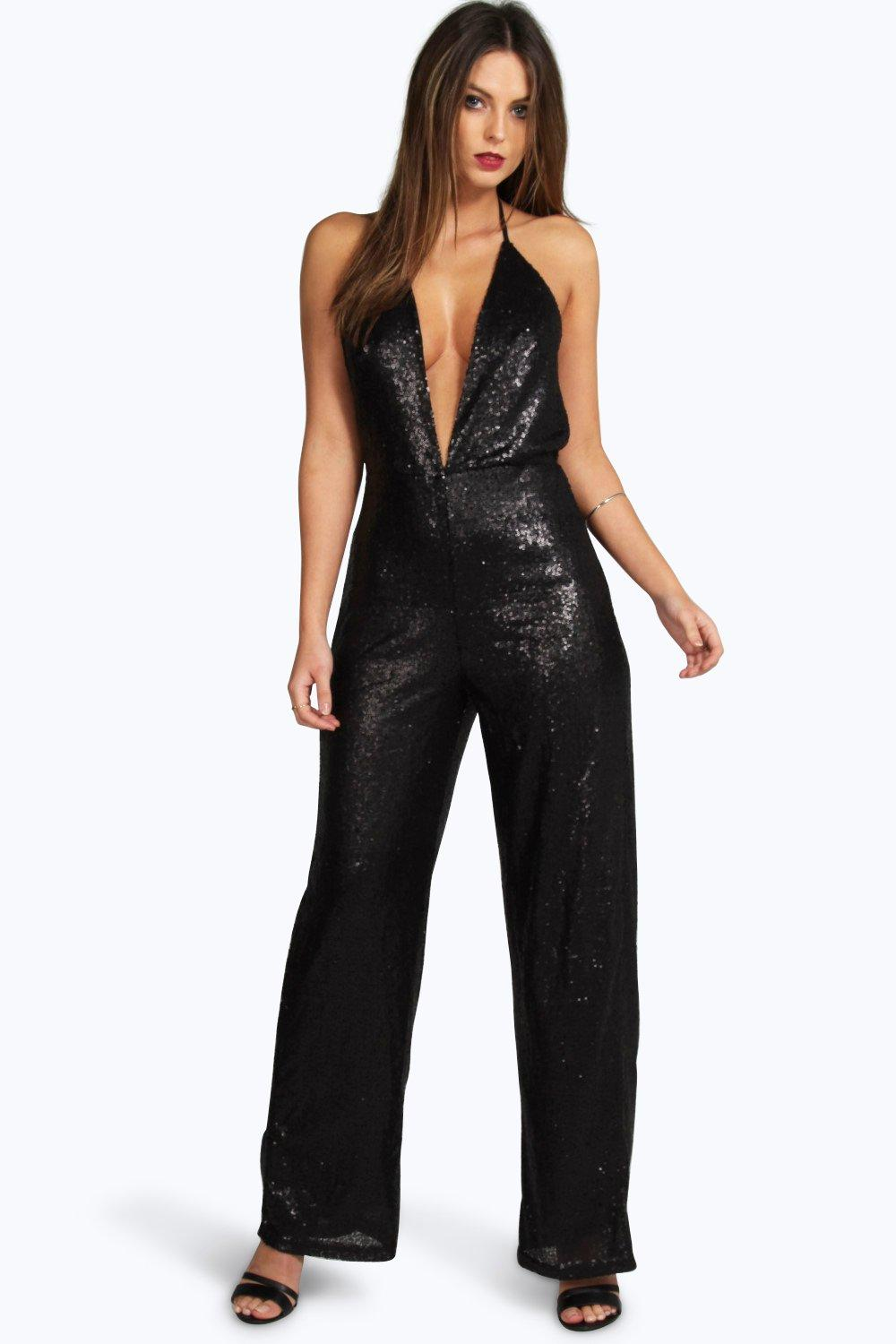 Boutique Lisa Deep Plunge Strappy Sequin Jumpsuit