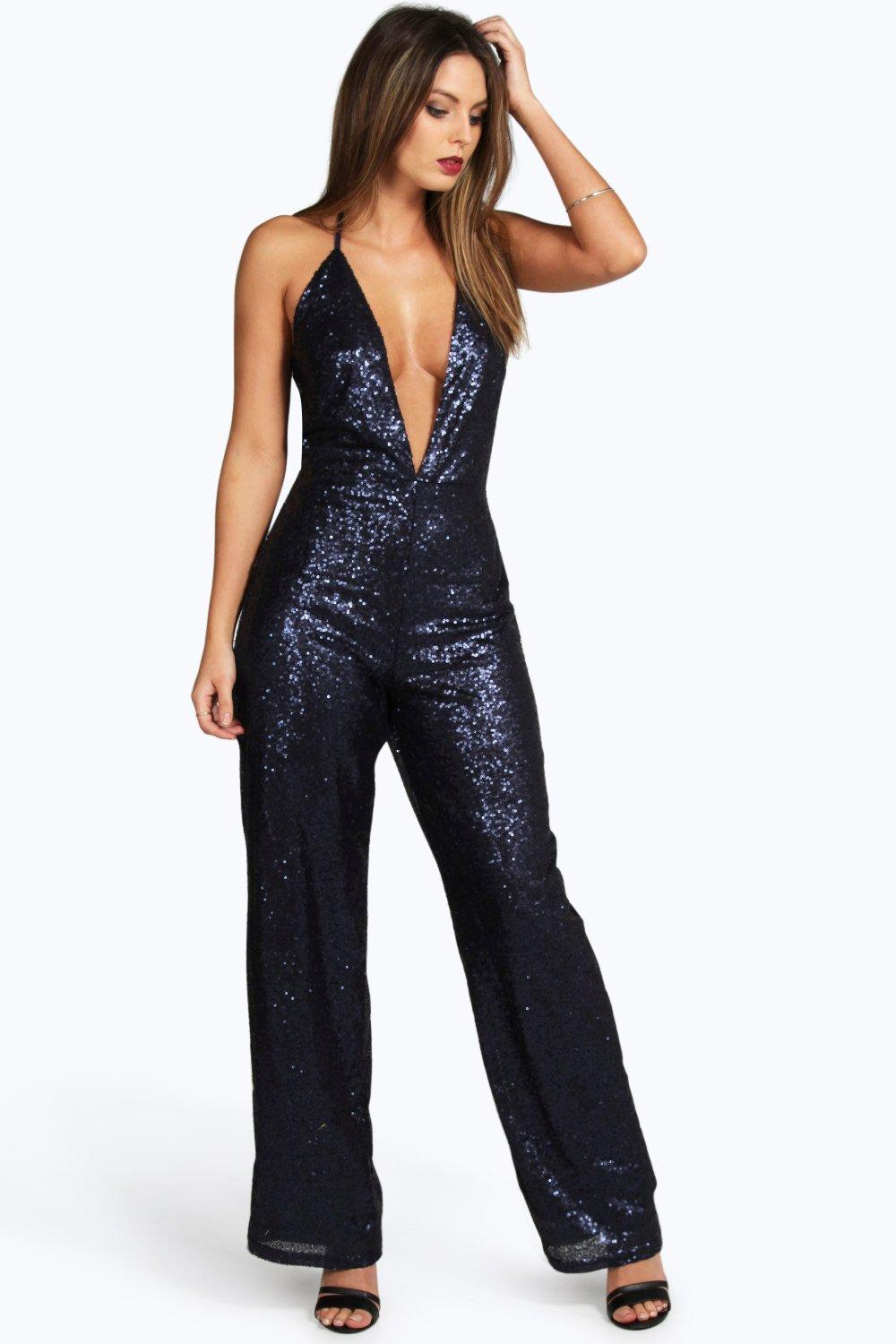 Boohoo Womens Boutique Lisa Deep Plunge Strappy Sequin Jumpsuit | EBay