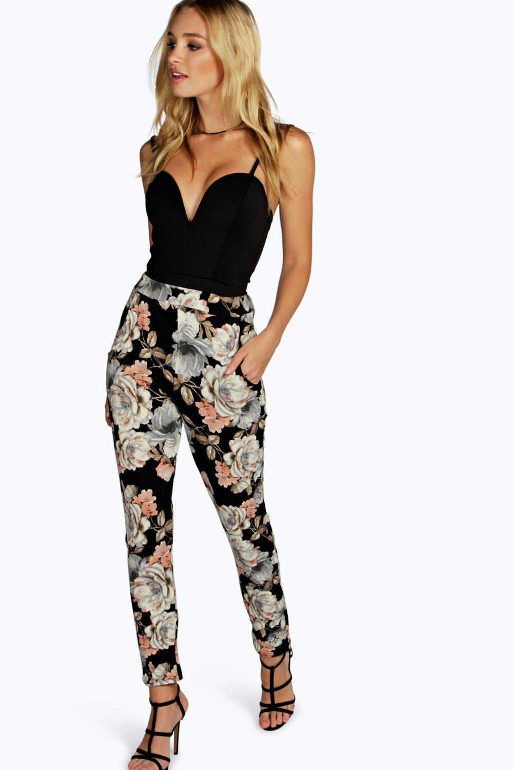 Ana Dark Floral Skinny Trousers