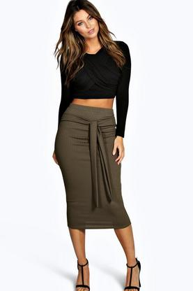 Iyana Belted Ribbed Longline Skirt