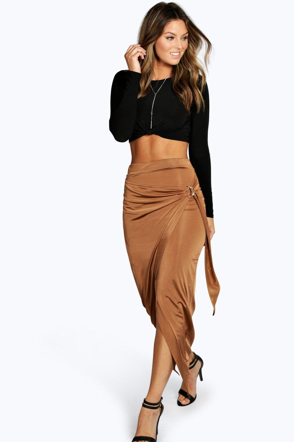 Willow Slinky D Ring Wrap Asymetric Midi Skirt