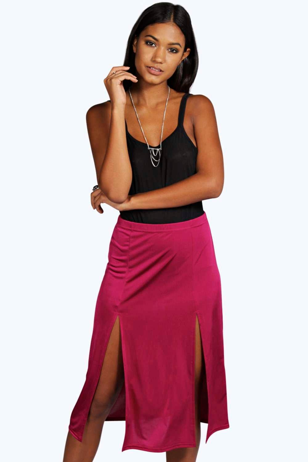 Harper Double Split Slinky Midi Skirt