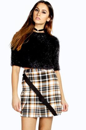 Sandy Pleated Check Mini Skirt