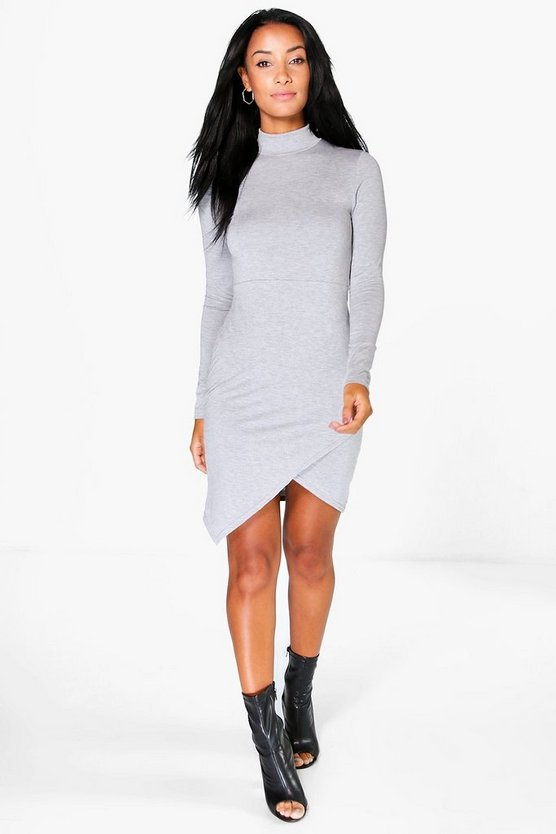Laura High Neck Asymmetric Bodycon Dress