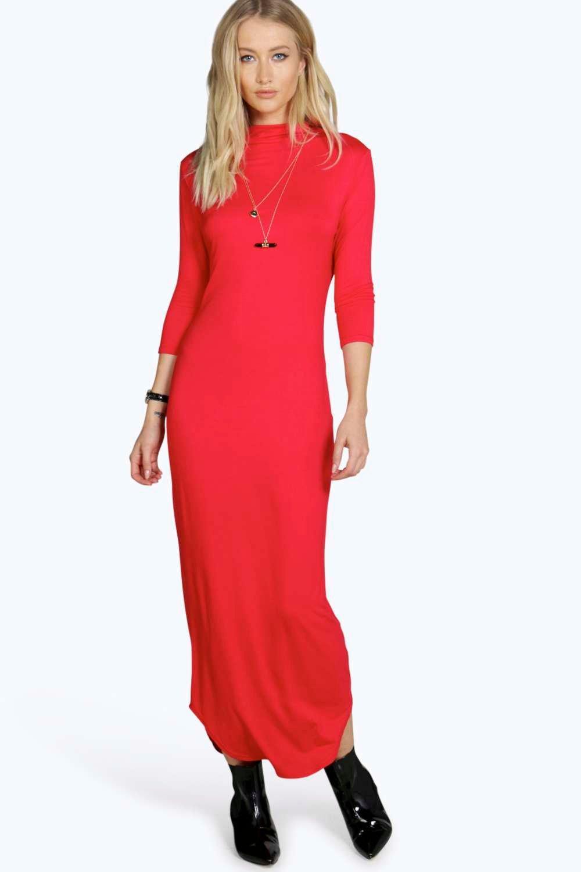High Neck Midaxi Dress red