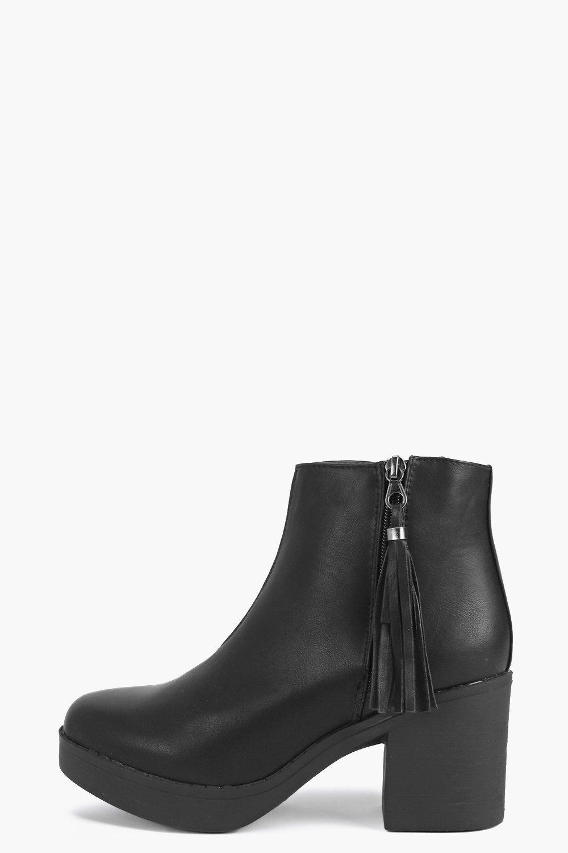 Tassel Trim Chelsea Boot black
