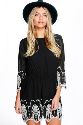 Boutique Nina Cameo Trim 3/4 Sleeve Playsuit