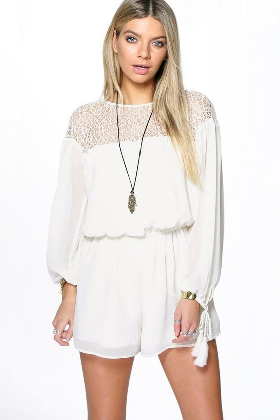 Julia Lace Insert Tassel Oversized Playsuit