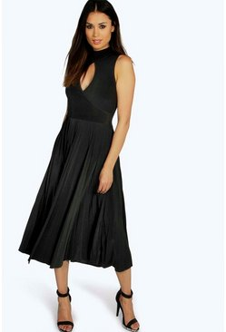 Sally Keyhole Pleated Slinky Midi Dress