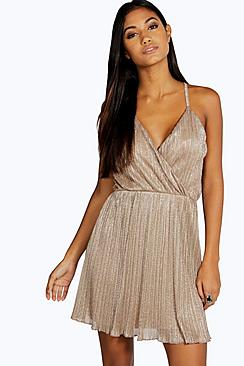 Caitlyn Metallic Pleated Wrap Skater Dress