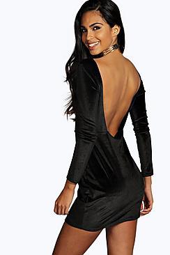 Hanna Velvet Open Back Detail Bodycon Dress