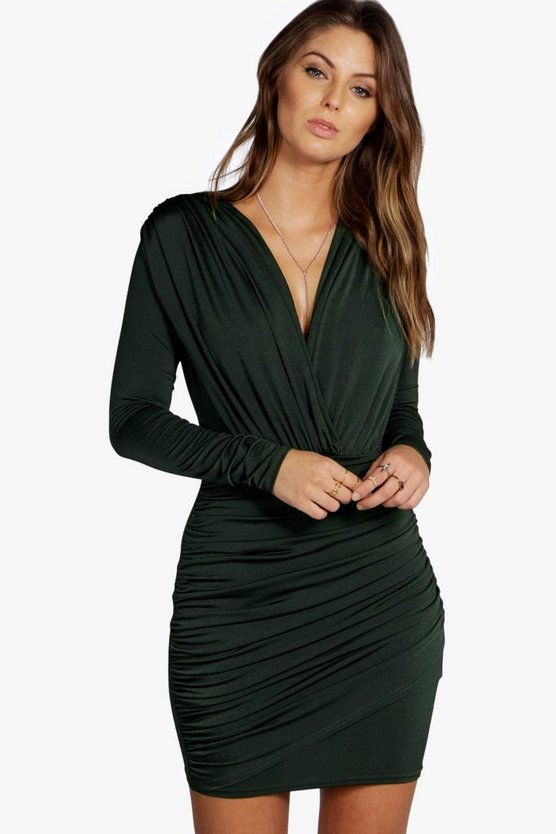 Mara Slinky Wrap Long Sleeve Bodycon Dress