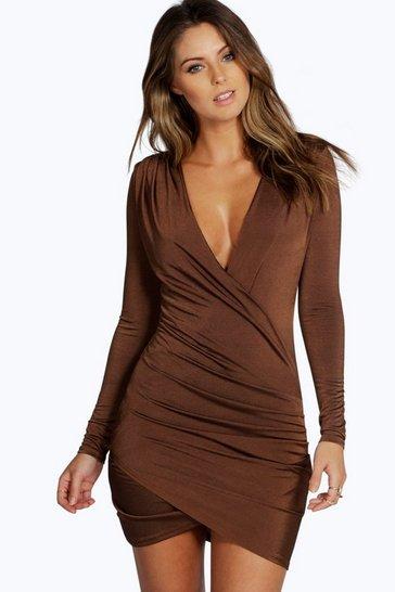 Chocolate Slinky Drape Front Sleeve Bodycon Dress