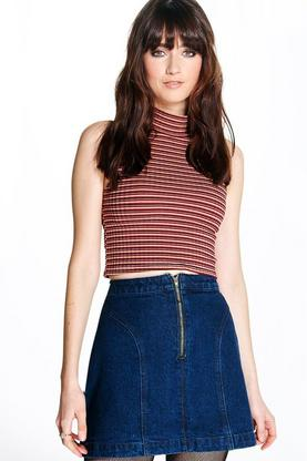 Leila 70's Denim Panelled Mini Skirt