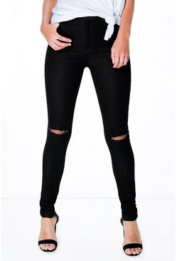 Lara High Waist Stretch Basic Tube Jeans