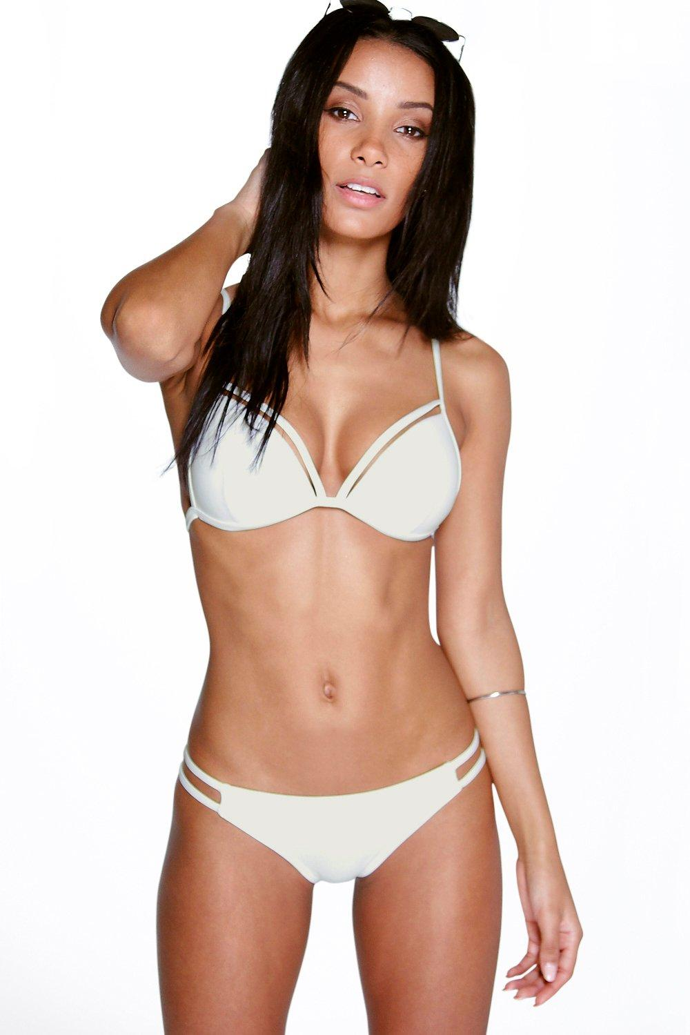 Cut Out Triangle Bikini white