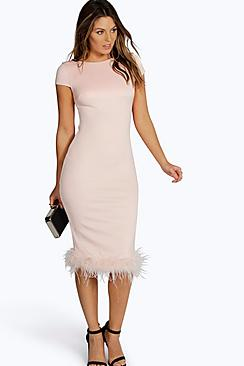 Aalyia Feather Hem Midi Bodycon Dress