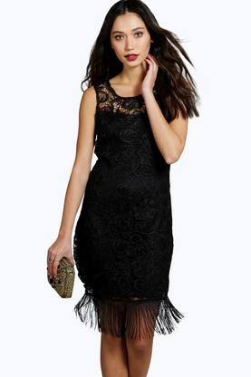 Boutique Lhia Lace Tassel Trim Bodycon Dress