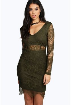 Sia Lace Cut Out Waist Bodycon Dress