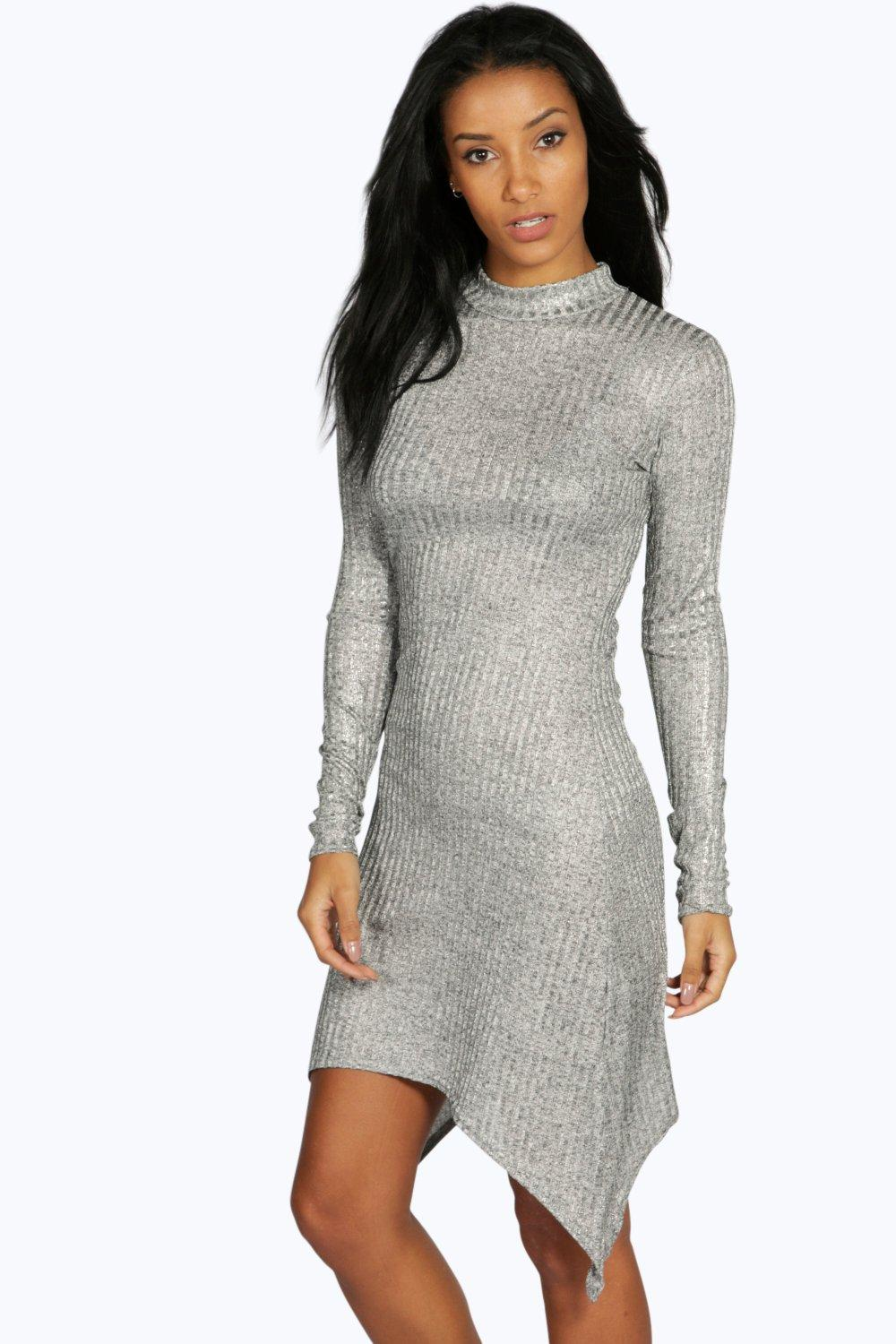 Hannah Ribbed Metallic Hanky Asymetric Dress