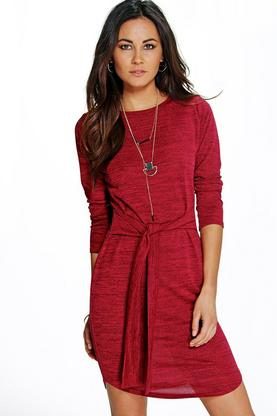 Allie Marl Knit Tie Front Bodycon Dress