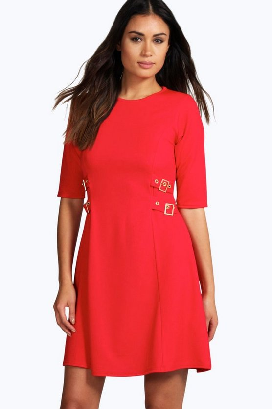 Jessica Long Sleeve Buckle Swing Dress