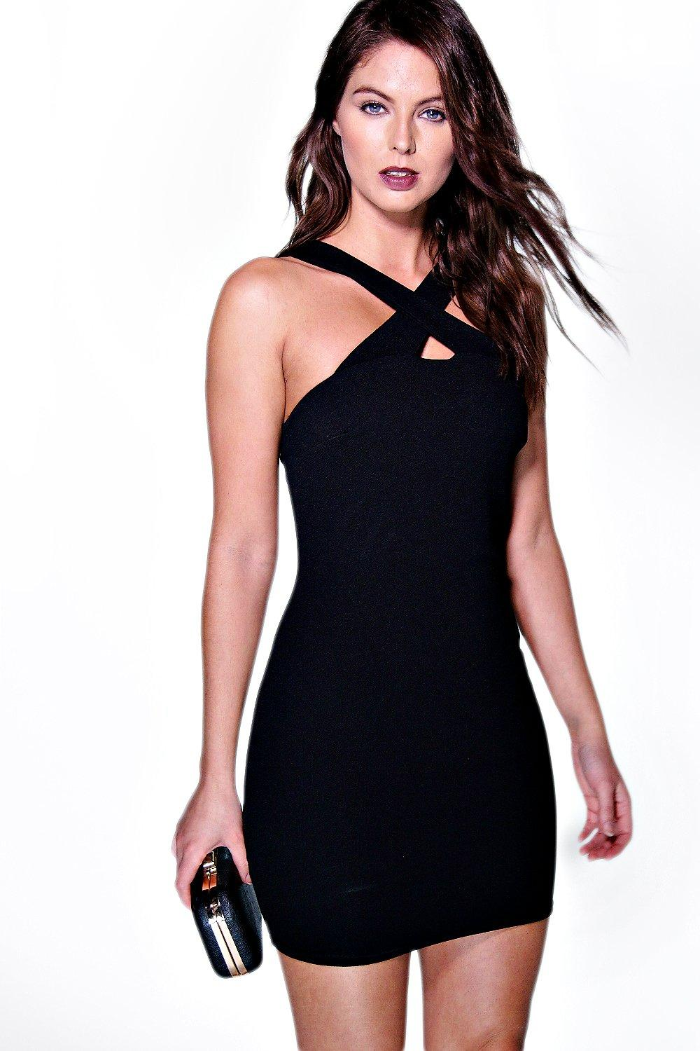 Brenda Crepe Cross Over Bodycon Dress