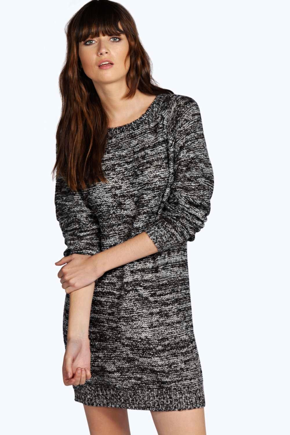 boohoo Emma Reverse Knit Tunic Dress With Back Zip - ecru