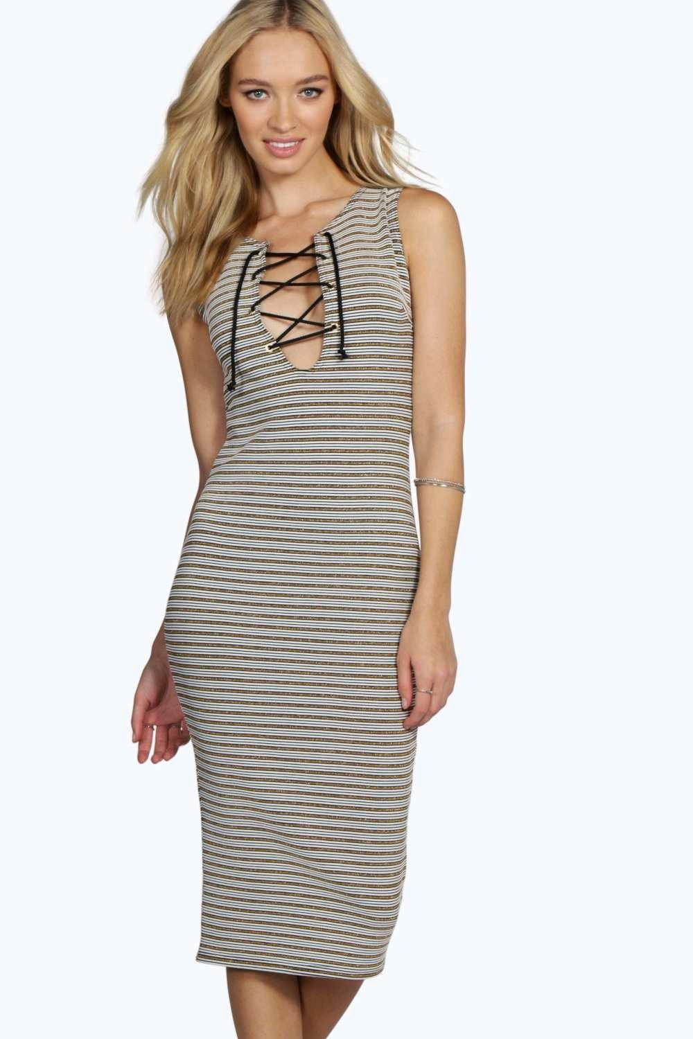 Sandra Metallic Stripe Rib Eyelet Bodycon Dress