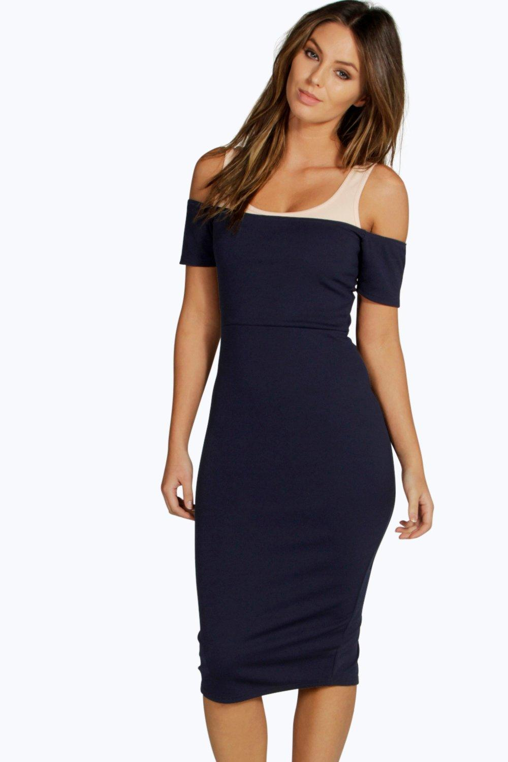 Becky Contrast Off Shoulder Bodycon Dress
