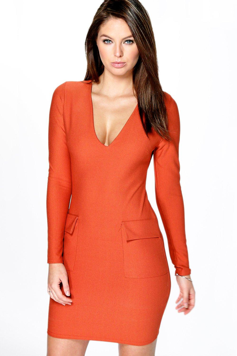 Callie Plunge Neck Pocket Detail Bodycon Dress