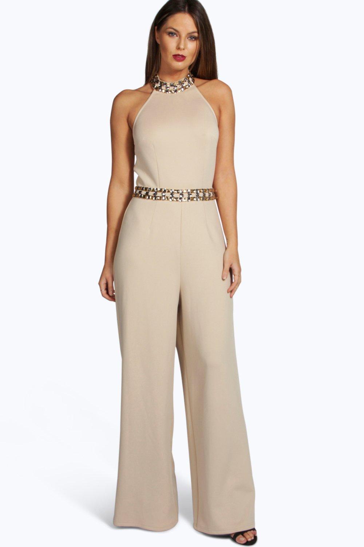 Boohoo Womens Boutique Amelia High Neck Embellished Jumpsuit | EBay