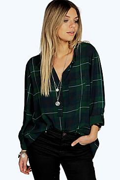 Rosie Collarless Checked Roll Back Sleeve Shirt