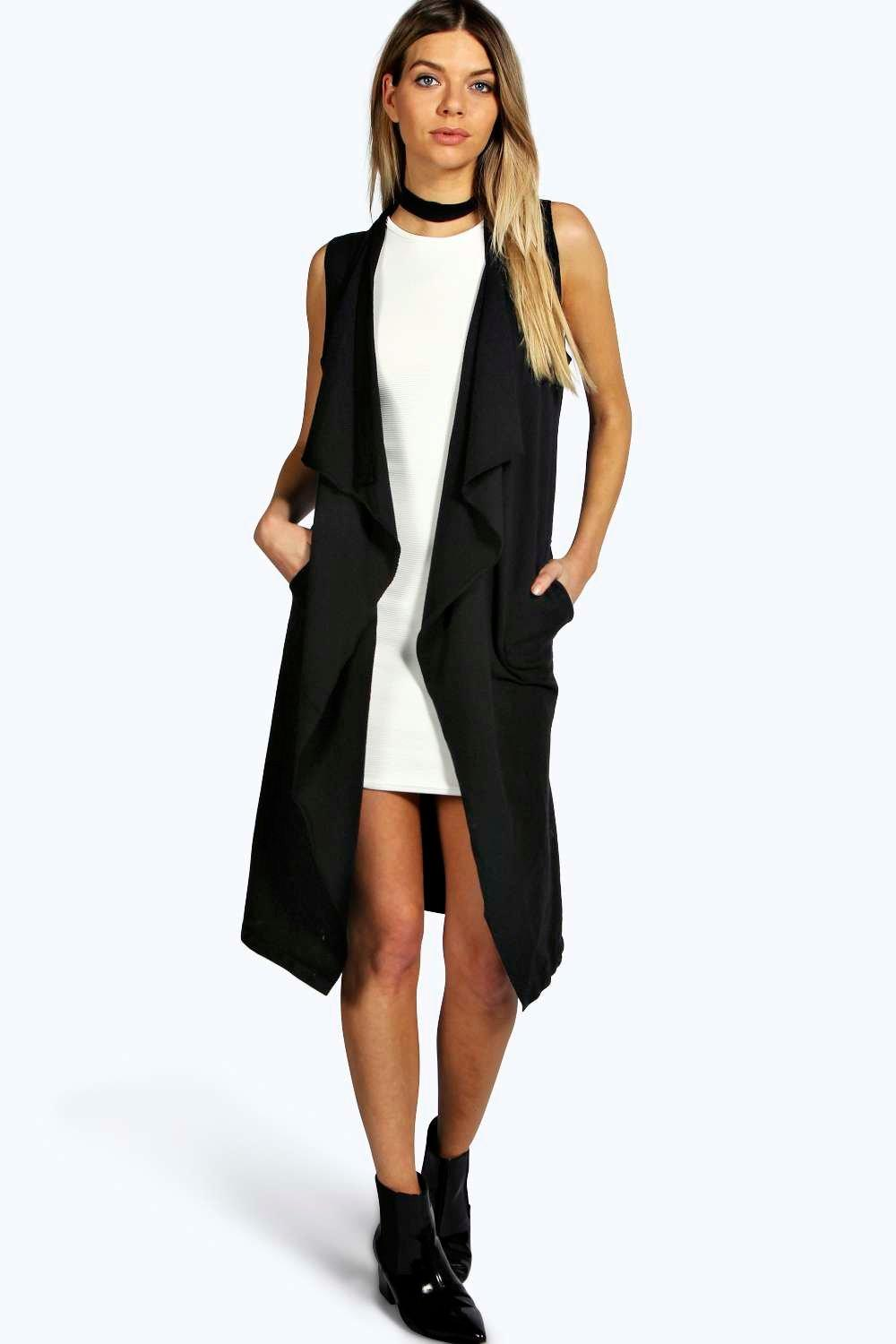 Aire Sleeveless Waterfall Jersey Cardigan | Boohoo