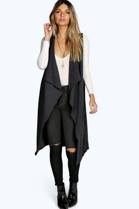 Aire Sleeveless Waterfall Jersey Cardigan