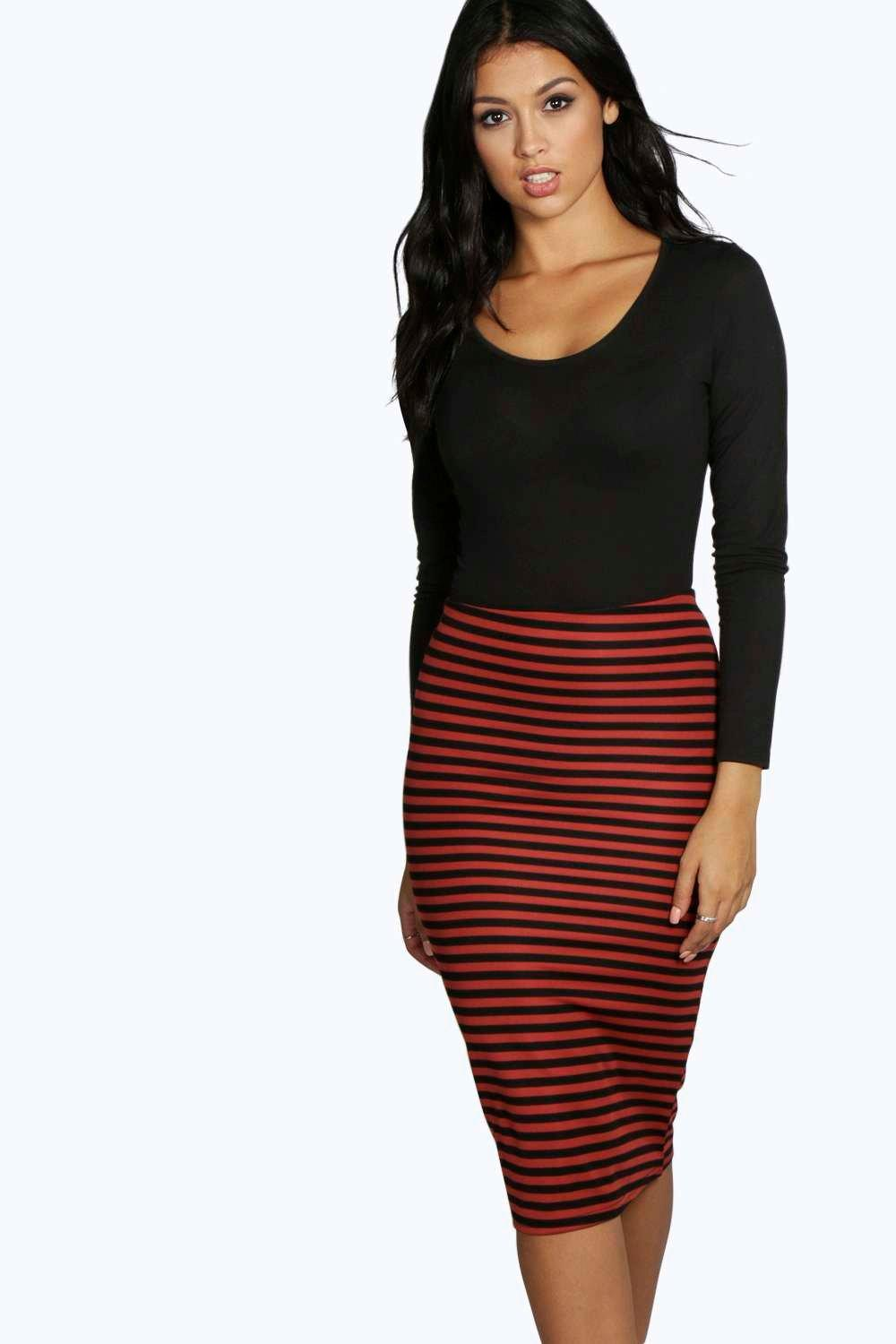 Kiora Striped Midi Skirt