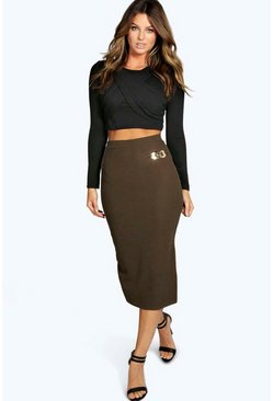Maud Buckle Detail Midi Skirt