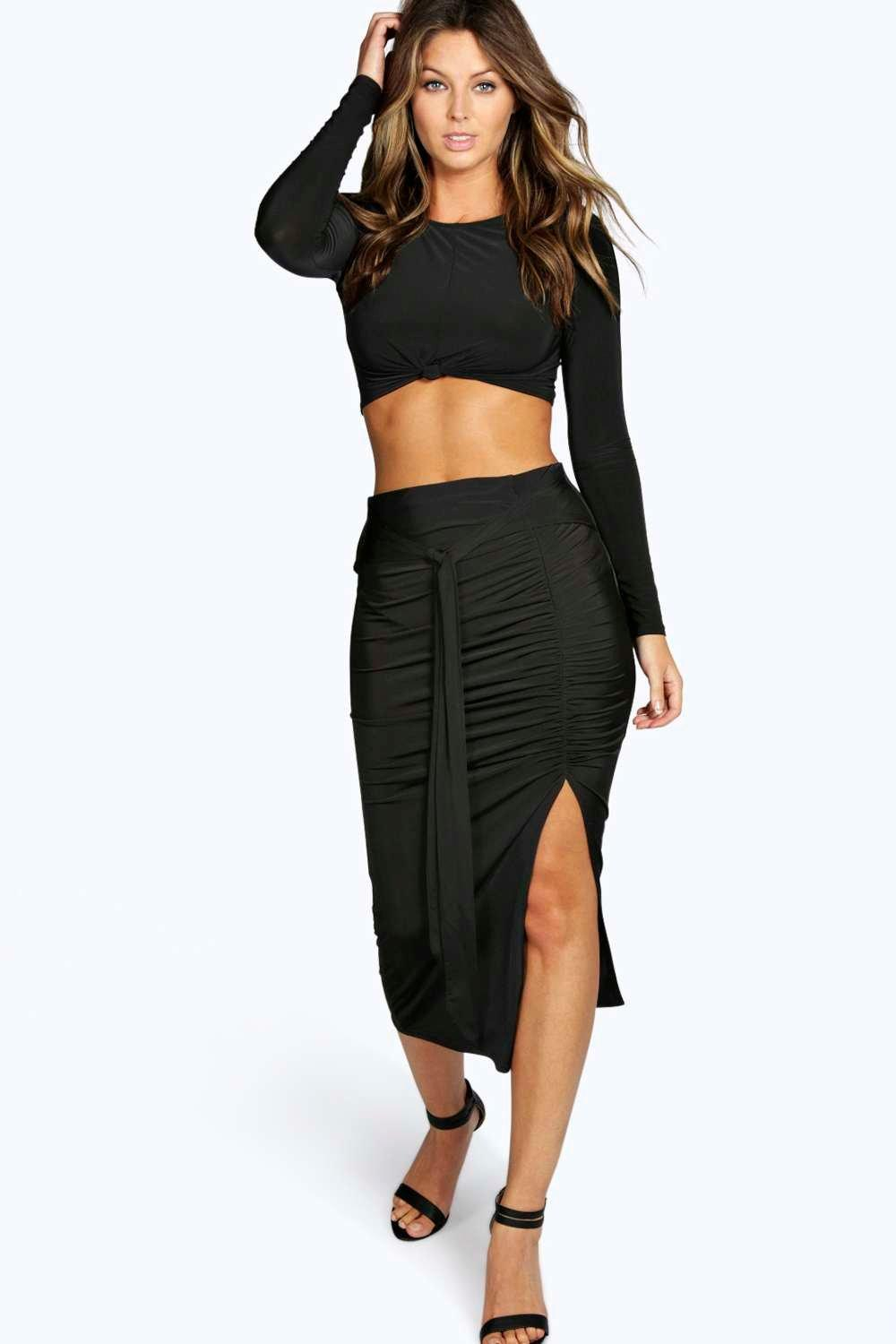 Mira Belted Ruched Slinky Fabric Skirt