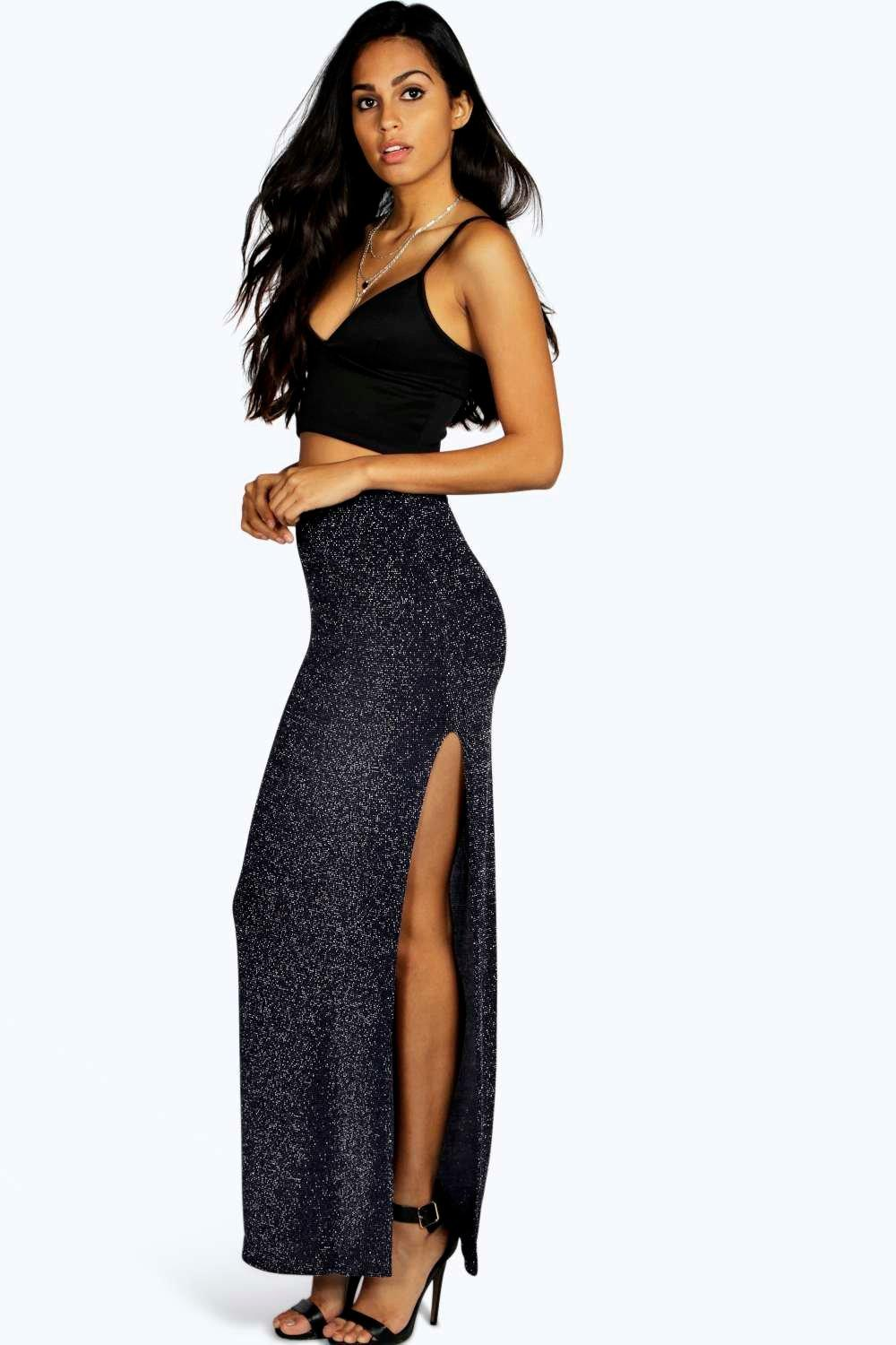 Saffron Side Split Metallic Maxi Skirt